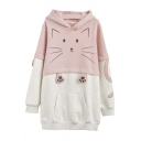 Cute Cat Pattern Color Block Hoodie with Front Pocket
