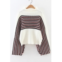 Stylish Stripe Color Block Wide Sleeve Round Neck Sweater