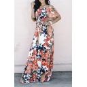 Off the Shoulder Floral Print Tie Waist Maxi Dress