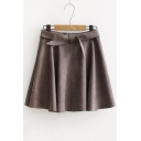 Fashion High Waist A-line Mini Skirt with Zipper Back