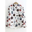 Preppy Style Owl Print Lapel High and Low Trim Single Breasted Button Down Shirt with Long Sleeve