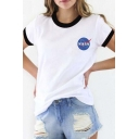 Contrast Trim NASA Logo Print Short Sleeve Tee with Round Neck