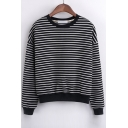New Stylish Striped Contrast Trim Dropped Long Sleeve Pullover Sweatshirt