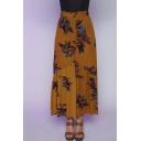 Fashion Floral Print Button Front A-line Skirt