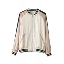 Fish Embroidery Back Color Block Stripe Trim Stand-up Collar Baseball Jacket