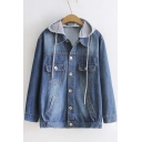 New Arrival Single Breasted Lapel Denim Jacket with Hood
