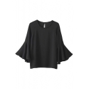 Fashion Bell Sleeve Keyhole Back Blouse in Black/White