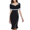 Women's Vintage Pinup Wiggle Dress Work Business Party Cocktail Dress