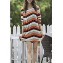 Stripe Print Long Sleeve Round Neck Loose T-Shirt Dress