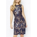 New Style Floral Lace Print Two-Piece Sexy Sheath Midi Dress