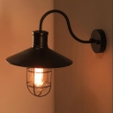 Nautical Style Gooseneck Wall Light with Wire Guard in Black Finish