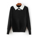 Fashion Bow Embellished Lapel Elastic Trim Long Sleeve Sweater