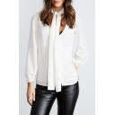 Elegant Plain Plunge Neck Lantern Long Sleeve Single Breasted Top