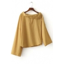 Fashion Oblique Lapel Neck Uneven Length of Sleeve Studded Asymmetric Shirt