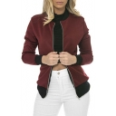 Fashion Simple Contrast Trim Zipper Placket Bomber Jacket