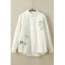 Thick Embroidery Animal Pattern Single Breasted Lapel High and Low Button Down Shirt with Wool Inside