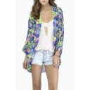 Women Girls Floral Print Long Loose Kimono Jacket Coat Cardigan Blouses