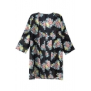 Vintage Women Girls Floral Print Long Loose Kimono Jacket Coat Cardigan Blouses