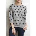 Cartoon Black Cat Print Round Neck 3/4 Sleeve Pullover Sweatshirt