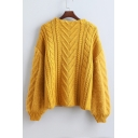 Stylish Cable Knit Drop Sleeve Round Neck Pullover Sweater