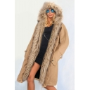 Women Hooded Parka Faux Fur Winter Warm Ladies Casual Long Jacket Coat Top