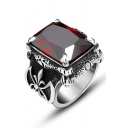 Vintage Ring for Men Studded with Red Gem