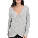 Criss Cross Wrap Front V Neck Long Sleeve Knit Sweater Jumper