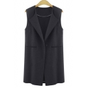 Fashion Folded Collar One Button Detail Sleeveless Vest Top