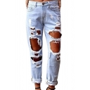 Women's Faded Ripped Casual Slim Denim Cotton Jeans