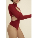 Mock Neck Cutout Chest Basic Knitted Long Sleeve Slim Bodysuit