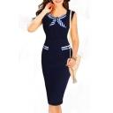 Chic Sleeveless Bow Stripe Round Neck Button Waist Pencil Midi Dress