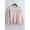 New Style Plain Cutout Crochet Round Neck Long Sleeve Elastic Cuffs Sweater