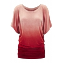 Fashion Gradient Round Neck Short Sleeve Tunic Tee
