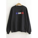 FRANCE Embroidery Pattern Elastic Trim Pullover Sweatshirt with Long Sleeve