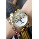 Fashion Couple Retro Style Glasses Cat Leopard Band Quartz Watch