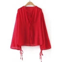 New Plain Tied V-Neck Drawstring Cuffs Lantern Long Sleeve Top