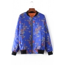 Dragon Phoenix Print Stand-Up Collar Contrast Trim Bomber Jacket