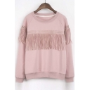 New Loose Tassel Cutout Raglan Long Sleeve Pullover Sweatshirt