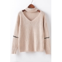 Chic Cut Out V-neck Zip Decoration Long Sleeve Sweater