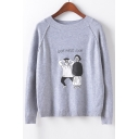 Funny Look What Look Cartoon Character Print Round Neck Long Sleeve Sweater
