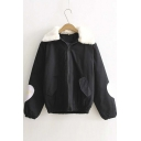 Cute Color Clock Fur Collar Zip Up Coat in Black/Pink