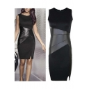 Women's Faux Leather Stitching Sleeveless Bodycon Dress