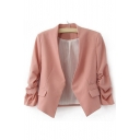Fashion Open-Front Puff Long Sleeve Stand-Up Collar Blazer