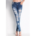 Sexy Women Denim Light Blue Skinny Jeans Party Jeans Pants Trousers