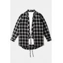 Kimono Style Tunic Shirt Plaid Detail Tie Front Cardigan