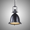 14'' W Industrial Antique Black Finished Hanging Lamp with Bell Shade