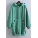 New Style Loose Oversize Long Sleeve Drawstring Hooded Sweatshirt Dress