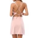 Sexy Crisscross Back V-Neck Beach Spaghetti Straps Slip Dress