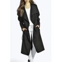 Fashion Folded Collar Long Sleeve Tie Waist Stylish Women's Wool Coat