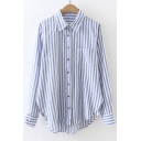 2016 Fall New Arrival Vertical Striped Lapel Single Breasted High and Low Tunic Button Down Shirt